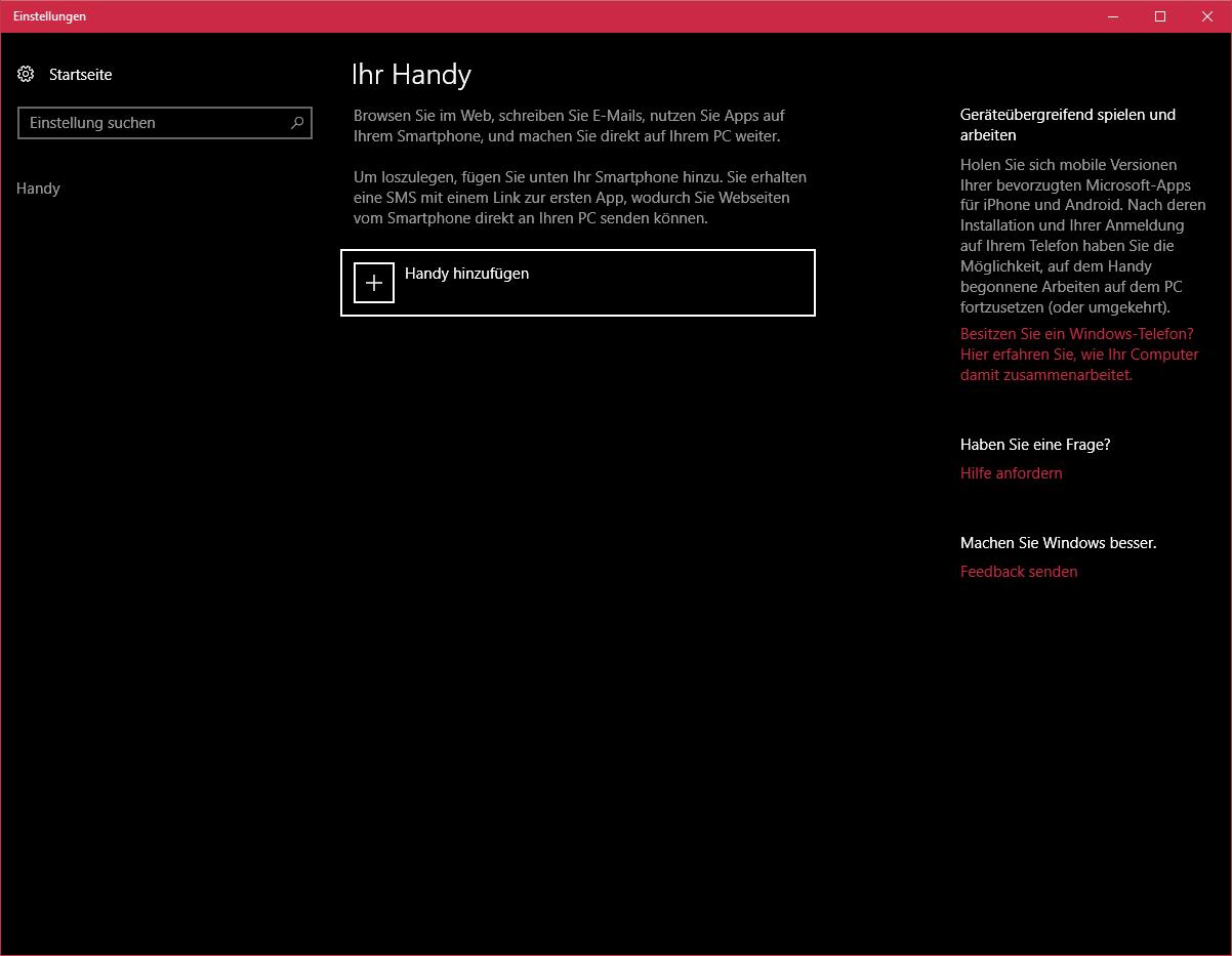 Handy verknüpfen unter Windows 10