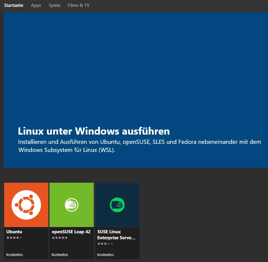 Linux-Distributionen im Windows Store