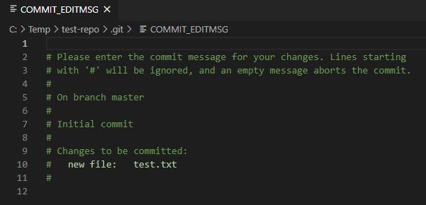 Commitmessage mit VS Code eintragen
